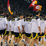 Fenerbahce Ulker's players during their Turkish Basketball league Play Off Final third leg match Galatasaray between Fenerbahce Ulker at the Abdi Ipekci Arena in Istanbul Turkey on Thursday 09 June 2011. Photo by TURKPIX