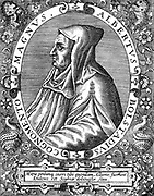 Albertus Magnus (c1200-1280) Italian Dominican friar called 'Doctor Universalis'. Bishop of Ratisbon, 1260. Melded theology and Aristotelianism. From engraving by Th. De Bry (1528-98)