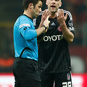 Besiktas's Fabian Ernst (R) Negative emotion during their Turkish superleague soccer derby match Galatasaray between Besiktas at the TT Arena at Seyrantepe in Istanbul Turkey on Sunday, 26 February 2012. Photo by TURKPIX
