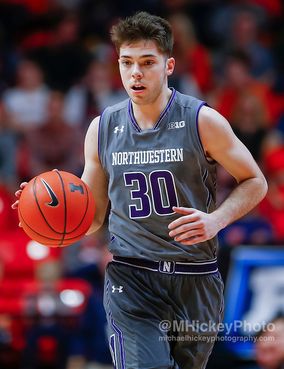 CHAMPAIGN, IL - FEBRUARY 21: Bryant McIntosh #30 of the Northwestern Wildcats brings the ball up court during the game against the Illinois Fighting Illini at State Farm Center on February 21, 2017 in Champaign, Illinois.  (Photo by Michael Hickey/Getty Images) *** Local Caption *** Bryant McIntosh