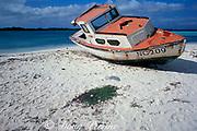 fishing boat on beach, Lac Bay, Bonaire, Netherlands Antilles, ( Caribbean Sea )