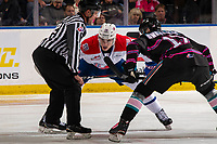 KELOWNA, BC - SEPTEMBER 21:  Jack Finley #26 of the Spokane Chiefs faces off against Alex Swetlikoff #17 of the Kelowna Rockets  at Prospera Place on September 21, 2019 in Kelowna, Canada. (Photo by Marissa Baecker/Shoot the Breeze)