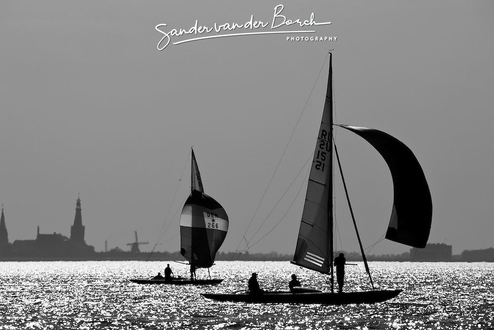 Medemblik, the Netherlands, September 8th 2009. Gaastra Dragon worlds 2009. Third day of racing, race 5 © Sander van der Borch. <br /> <br /> I always like the graphical images. In this occasion I was covering the Dragon worlds in Medemblik. Later during the day when the back light is getting greater because the low position of the sun you can take some very interesting images especially in black and white.