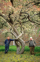 Christopher Lloyd and Fergus Garrett standing under Malus floribunda