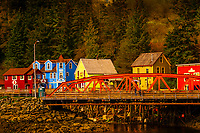 Bridge with Creek Street historical district behind, Ketchikan, Southeast Alaska USA