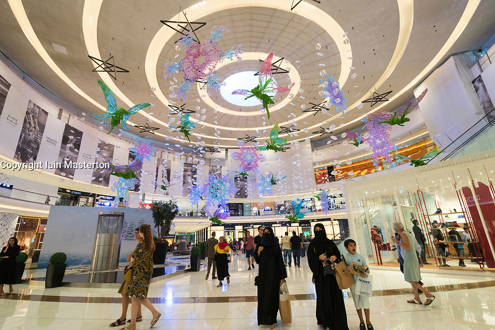 Christmas decorations at Dubai Mall Fashion Avenue , Downtown Dubai, United Arab Emirates