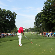 Rory McIlroy tees off on the 16th hole during the first round of theThe Barclays Golf Tournament at The Ridgewood Country Club, Paramus, New Jersey, USA. 21st August 2014. Photo Tim Clayton
