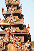 Closeup of temple spire carvings, Shwedagon Pagoda, Yangon, Myanmar. Exotic places and architecture. Fine art photography prints for sale.