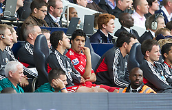 18.09.2011, White Hart Lane, London, ENG, PL, Tottenham Hotspur FC vs Liverpool FC, im Bild  Liverpool's Luis Alberto Suarez Diaz sits on the bench looking dejected after Tottenham Hotspur win four-nil during the Premiership match at White Hart Lane. EXPA Pictures © 2011, PhotoCredit: EXPA/ Propaganda Photo/ David Rawcliff +++++ ATTENTION - OUT OF ENGLAND/GBR+++++