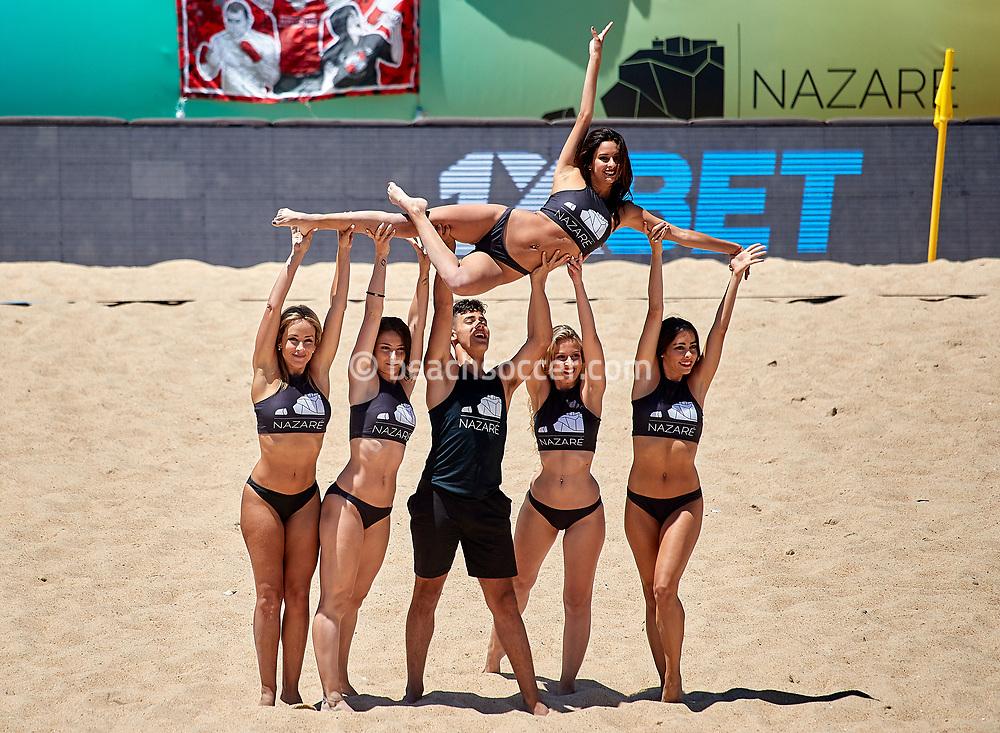 NAZARE, PORTUGAL - JUNE 9: Cheerleaders during the Euro Winners Cup Nazaré 2019 at Nazaré Beach on June 9, 2019 in Nazaré, Portugal. (Photo by Jose M. Alvarez)