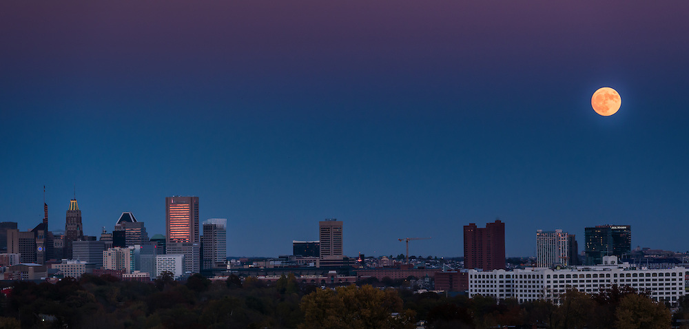 Supermoon Over Baltimore Skyline