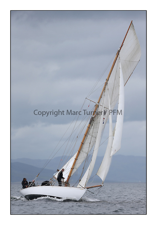 Day one of the Fife Regatta, Round Cumbraes Race.<br /> Viola, Yvon Rautureau, FRA, Gaff Cutter, Wm Fife 3rd, 1908<br /> <br /> * The William Fife designed Yachts return to the birthplace of these historic yachts, the Scotland's pre-eminent yacht designer and builder for the 4th Fife Regatta on the Clyde 28th June–5th July 2013<br /> <br /> More information is available on the website: www.fiferegatta.com