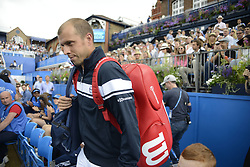 June 24, 2017 - London, England, United Kingdom - Gilles Muller of Luxembourg enters the court to play the semi final of AEGON Championships at Queen's Club, London, on June 24, 2017. (Credit Image: © Alberto Pezzali/NurPhoto via ZUMA Press)
