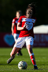 Carla Humphrey of Bristol City runs with the ball as her hair covers her face - Mandatory by-line: Robbie Stephenson/JMP - 24/03/2019 - FOOTBALL - Stoke Gifford Stadium - Bristol, England - Bristol City Women v Everton Ladies - FA Women's Super League