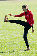 New York, New York - A runner warms up before the Ivy League Heptagonal women's<br /> cross country championship meet at Van Cortlandt Park in the Bronx on Oct. 26, 2017.
