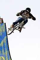 "Jul 01, 2003; Anaheim, California, USA; BMX bike rider JAMIE BESTWICK on the 14' vert ramp at Disney's California Adventure ""X Games Experience"".  <br />Mandatory Credit: Photo by Shelly Castellano/Icon SMI<br />(©) Copyright 2003 by Shelly Castellano"
