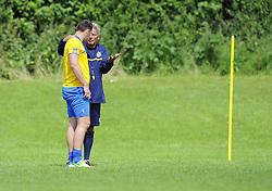 Bristol Rovers Manager, John Ward talks with Bristol Rovers' Tom Parkes - Photo mandatory by-line: Joe Meredith/JMP - Tel: Mobile: 07966 386802 24/06/2013 - SPORT - FOOTBALL - Bristol -  Bristol Rovers - Pre Season Training - Npower League Two
