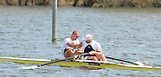 Caverham, Great Britain, Men's Pair. Bow, Mo SBIHI and Andy TRIGGS HODGES. congratulate each other after winning the final, Redgrave Pinsent Rowing Lake GB Rowing Senior U23 Trials at the GB Rowing centre. 12:42:27  Sunday  21/04/2013  [Mandatory Credit. Peter Spurrier/Intersport Images] GBRT Senior U23 Trails,