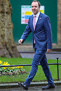 February 13, 2020, London, England, United Kingdom: British lawmaker Matt Hancock Secretary of State for Health and Social Care arrives at 10 Downing Street in London, Thursday, Feb. 13, 2020. (Credit Image: © Vedat Xhymshiti/ZUMA Wire)