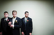 Stamford_032907_ From left, seniors Serhiy Korostenskyy, Matt McManus, and Matt Richichi, wait in the hallway before Westhill's Candyland of Fashion, the annual prom fashion show, at Westhill High School on Thursday, March 29, 2007. Chris Preovolos/Staff photo Staff Photo Chris Preovolos