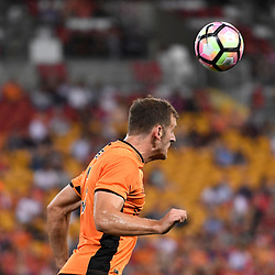 BRISBANE, AUSTRALIA - DECEMBER 22: Luke DeVere of the Roar heads the ball during the round 4 Foxtel National Youth League match between the Brisbane Roar and Melbourne City at AJ Kelly Field on December 22, 2016 in Brisbane, Australia. (Photo by Patrick Kearney/Brisbane Roar)