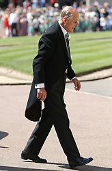 The Duke of Edinburgh arrives at St George's Chapel at Windsor Castle for the wedding of Meghan Markle and Prince Harry.