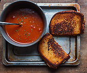 Bacon Tomato Grilled Cheese with Firey Tomato Soup