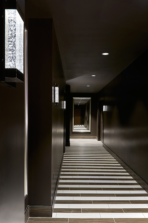 Hotel Hyatt Centric. Dramatically lit hallways with strongly geometric floors open to an  inviting roof deck during the day and spectacular views at night. Design by J R Wiltgen Design, photographed by Beatrice Renae Lillie Photography.
