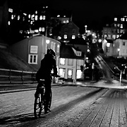 I have taken this photo on a coldd but beautiful night in Trondheim Norway over an old bridge called gamlebybro. I was on my knees and waited for a nice moment. The place is always crowded but I was lucky enough to capture this unique moment. I have not edited this photo except a little brightness. Please feel free to find me by:  Website  , Facebook  ,  Instagram  , Google+ 