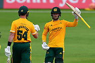 Ben Duckett of Nottinghamshire celebrates his half century during the Vitality T20 Blast North Group match between Nottinghamshire County Cricket Club and Yorkshire County Cricket Club at Trent Bridge, Nottingham, United Kingdon on 31 August 2020.