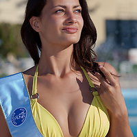 Henrieatta Ohanyak winner of the prize for the most beautiful face placed third during the Miss Bikini Hungary beauty contest held in Budapest, Hungary on August 29, 2010. ATTILA VOLGYI