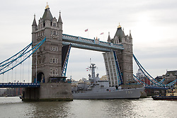 """© Licensed to London News Pictures. 29/11/2013. London, UK. The Belgian Frigate Louise Marie arrives in London on 29 November 2013 bringing """"sacred soil"""" from cemeteries of First World War Battlefields in Flanders and moors next to HMS Belfast on the River Thames. Tower Bridge was raised fully in complement, for the first time since the Diamond Jubilee Pageant in 2012. Photo credit : Vickie Flores/LNP"""