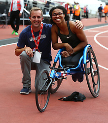 July 22, 2018 - London, United Kingdom - Great Britain Kare Adenegan  winner and World Record with her Coach after the T34 100m Women  during the Muller Anniversary Games IAAF Diamond League Day Two at The London Stadium on July 22, 2018 in London, England. (Credit Image: © Action Foto Sport/NurPhoto via ZUMA Press)