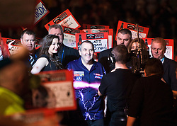 Phil Taylor arriving for the game v Ronnie Baxter..2010 Whyte & MacKay Premier League Darts week nine, Glasgow SECC..©2010 Michael Schofield. All Rights Reserved.