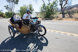 Dawn and Doc Hopkins of Doc's Harley-Davidson in Wisconsin riding their 1915 Harley-Davidson and wicker sidecar on the last day of the Motorcycle Cannonball Race of the Century. Stage-15 ride from Palm Desert, CA to Carlsbad, CA. USA. Sunday September 25, 2016. Photography ©2016 Michael Lichter.