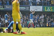 Portsmouth Forward, Brett Pitman (8) celebrates after scoring a goal to make it 2-1 during the EFL Sky Bet League 1 match between Portsmouth and Coventry City at Fratton Park, Portsmouth, England on 22 April 2019.