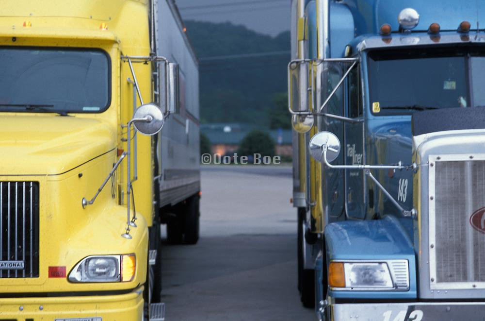 parked freight trucks