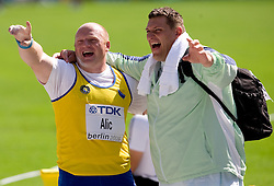 Hamza Alic of BiH and Miroslav Vodovnik of Slovenia compete in the men's Shot Put qualifying event of the 2009 IAAF Athletics World Championships on August 15, 2009 in Berlin, Germany. (Photo by Vid Ponikvar / Sportida)
