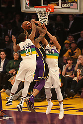 February 27, 2019 - Los Angeles, CA, U.S. - LOS ANGELES, CA - FEBRUARY 27: Los Angeles Lakers Guard Brandon Ingram (14) shot being contested by New Orleans Pelicans Center Jahlil Okafor (8) and New Orleans Pelicans Forward Darius Miller (21) during the first half of the New Orleans Pelicans versus Los Angeles Lakers game on February 27, 2019, at Staples Center in Los Angeles, CA. (Photo by Icon Sportswire) (Credit Image: © Icon Sportswire/Icon SMI via ZUMA Press)