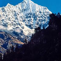 A Himalayan peak above the Dudh Kosi gorge in the Khumbu region of Nepal 1986.