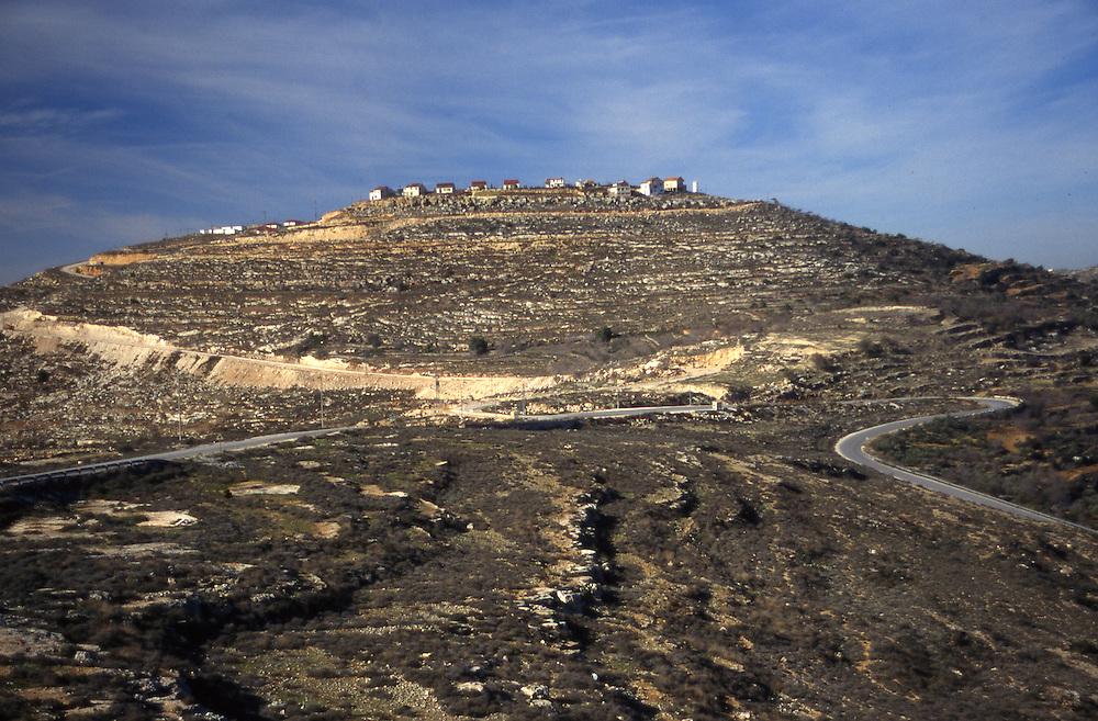 Israeli settlement on hilltop in West Bank near town of Nablus in 1996.
