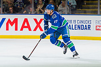 KELOWNA, BC - SEPTEMBER 29:  Ben Hutton #27 of the Vancouver Canucks skates with the puck against the Arizona Coyotes at Prospera Place on September 29, 2018 in Kelowna, Canada. (Photo by Marissa Baecker/NHLI via Getty Images)  *** Local Caption *** Ben Hutton