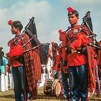A Bengali bagpipe group marches at a stadium in Dhaka, Bangladesh, celebrating thier 1971 independence from Pakistan. 1977 photo