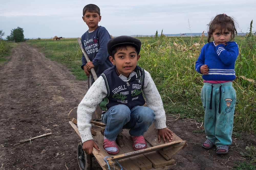 Roma children playing in the village of Dimacheni in Botosani County, Romania.
