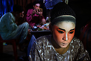 Performers of the งิ้วซิงตง  新中正順香  Teochew Sing Tong  Chinese Opera prepare for a performance in Bangkok's Chinatown.