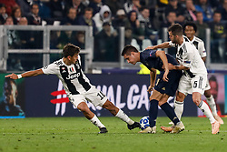 November 8, 2018 - Turin, Italy - Paulo Dybala (L) and Miralem Pjanic (R) of Juventus vie for the ball with Ander Herrera of Manchester United during the Group H match of the UEFA Champions League between Juventus FC and Manchester United FC on November 7, 2018 at Juventus Stadium in Turin, Italy. (Credit Image: © Mike Kireev/NurPhoto via ZUMA Press)