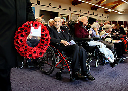 Veterans are joined by family, staff and friends during a Service of Remembrance on Armistice Day at Erskine Home in Bishopton, Scotland.