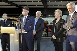 October 5, 2017 - Nice, France - Christian Estrosi (Maire de Nice, president de la metropole Nice Cote d Azur) - Nathalie Boy de la Tour (presidente de la Ligue de football professionnelle) - Jean Pierre Rivere  (Credit Image: © Panoramic via ZUMA Press)