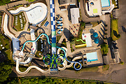 Aerial view of Seabreeze Amusement Park located in Irondequoit, a suburb of Rochester, NY.