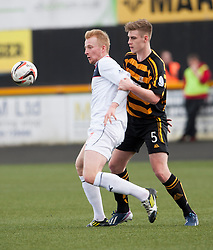 Falkirk's Mark Beck and Alloa Athletic's Liam Lindsay .<br /> half time : Alloa Athletic 0 v 0 Falkirk, Scottish Championship game played today at Alloa Athletic's home ground, Recreation Park.<br /> © Michael Schofield.
